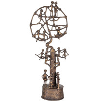 African & Tribal Bronze Tree of Life Sculpture