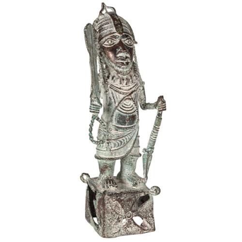 African & Tribal - Benin King Oba Bronze (standing figure)